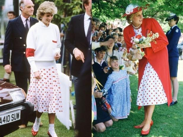 Putri Diana dengan rok polkadot merah