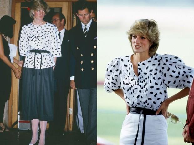 Putri Diana mengenakan blouse hitam putih