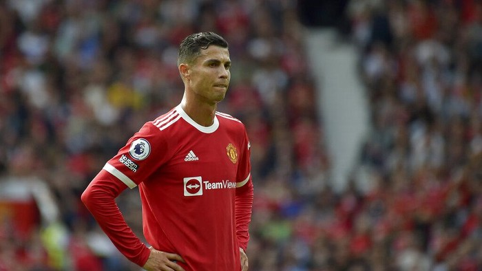 Manchester Uniteds Cristiano Ronaldo looks on during the English Premier League soccer match between Manchester United and Newcastle United at Old Trafford stadium in Manchester, England, Saturday, Sept. 11, 2021. (AP Photo/Rui Vieira)