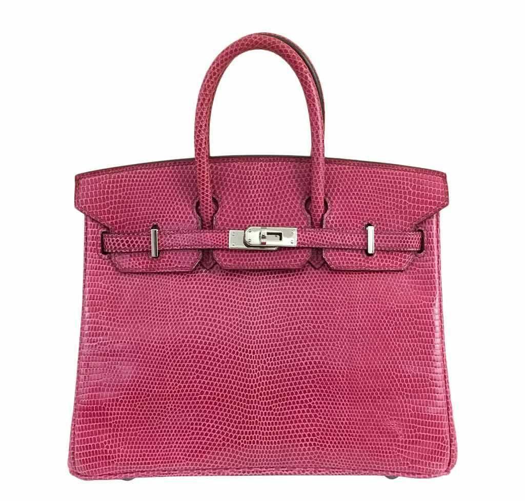 Hermès Lizard Birkin Bag Fuchsia Pink 25cm