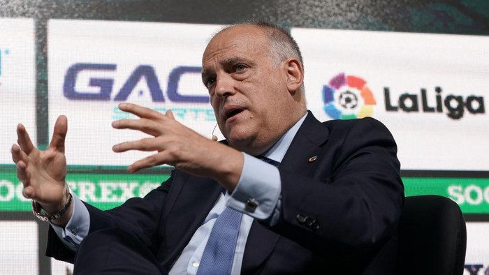 LISBON, PORTUGAL - SEPTEMBER 05: Javier Tebas President of La Liga talks during Day 1 of Soccerex Europe Convention at Tagus Park on September 5, 2019 in Lisbon, Portugal. (Photo by Gualter Fatia/Getty Images)