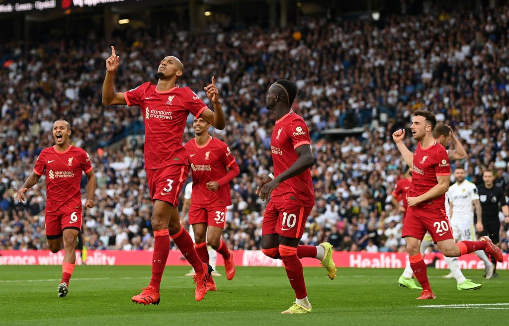 LEEDS, ENGLAND - SEPTEMBER 12: Fabinho of Liverpool celebrates after scoring their side's second goal during the Premier League match between Leeds United and Liverpool at Elland Road on September 12, 2021 in Leeds, England. (Photo by Shaun Botterill/Getty Images)