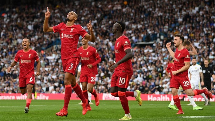 LEEDS, ENGLAND - SEPTEMBER 12: Fabinho of Liverpool celebrates after scoring their sides second goal during the Premier League match between Leeds United and Liverpool at Elland Road on September 12, 2021 in Leeds, England. (Photo by Shaun Botterill/Getty Images)