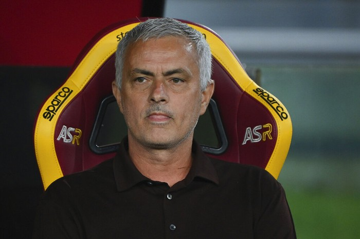 Romas head coach Jose Mourinho looks on during the Italian Serie A soccer match between Roma and Sassuolo at the Olympic stadium in Rome Sunday, Sept. 12, 2021. (Alfredo Falcone/LaPresse via AP)