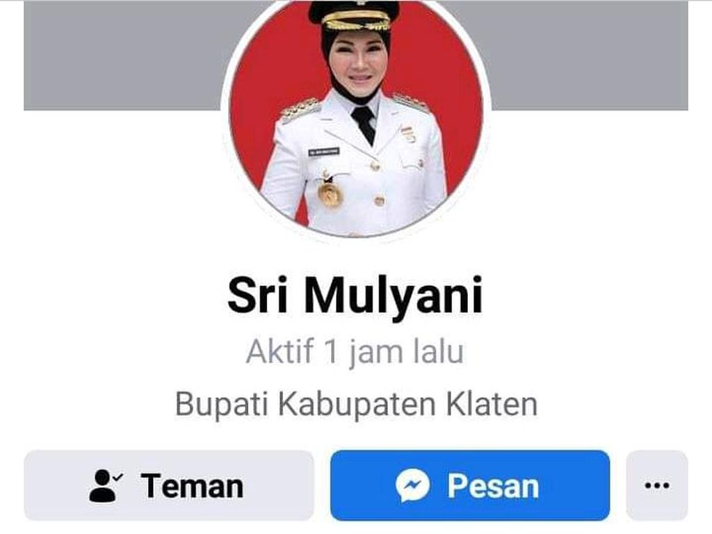 Hati-hati! Ada Akun Palsu Pakai Nama Bupati Klaten di Facebook