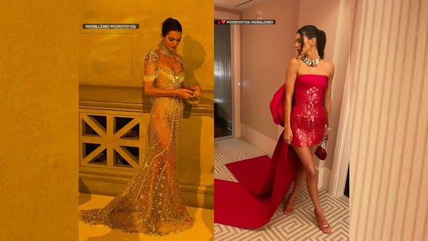 Kendall Jenner Met Gala 2021 red carpet vs after party