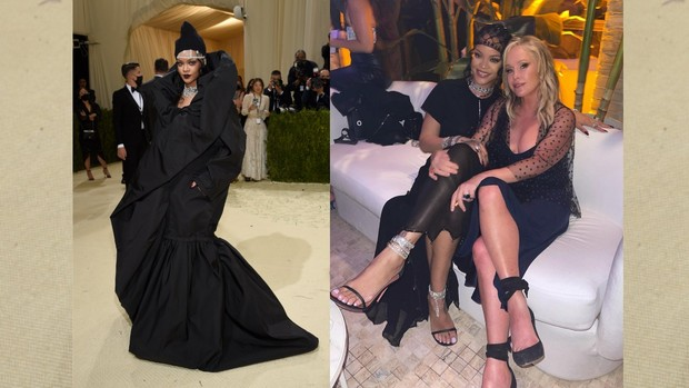 Rihanna Met Gala 2021 red carpet vs after party