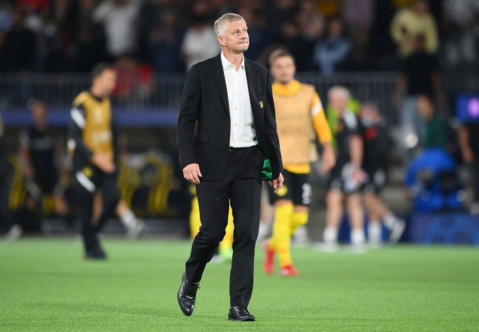 BERN, SWITZERLAND - SEPTEMBER 14: Ole Gunnar Solskjaer, Manager of Manchester United reacts after the UEFA Champions League group F match between BSC Young Boys and Manchester United at Stadion Wankdorf on September 14, 2021 in Bern, Switzerland. (Photo by Matthias Hangst/Getty Images)