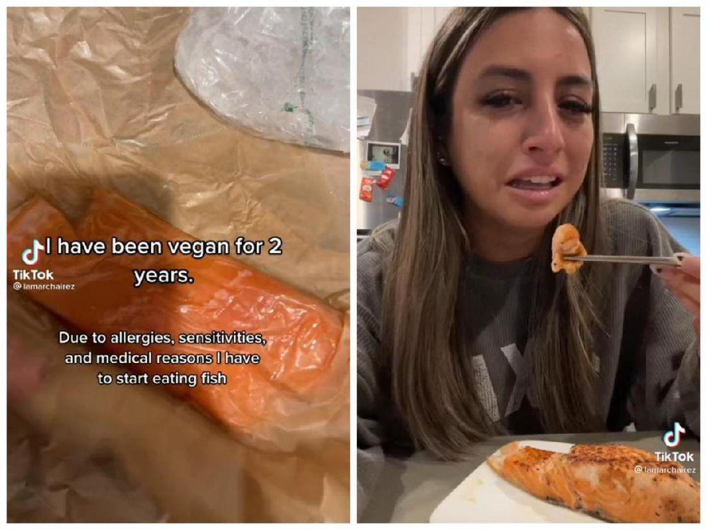 Terpaksa Makan Ikan, Wanita Vegan Ini Nangis karena Merasa Bersalah