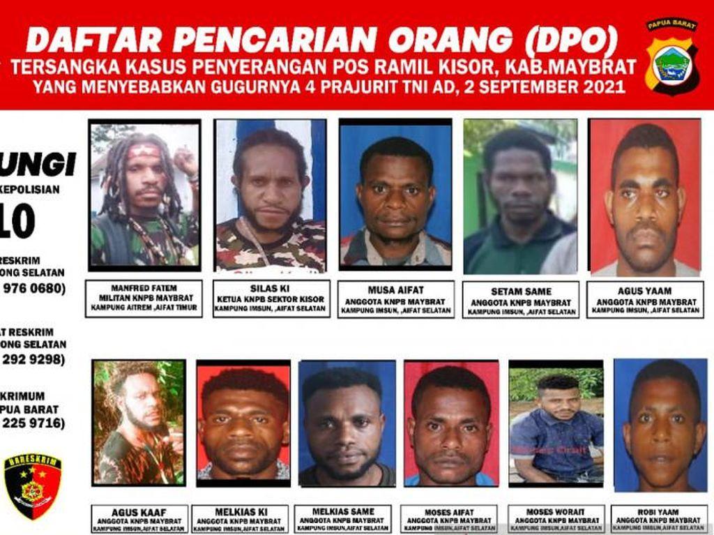 Ini Tampang Belasan DPO KNPB Maybrat Penyerang Posramil Kisor