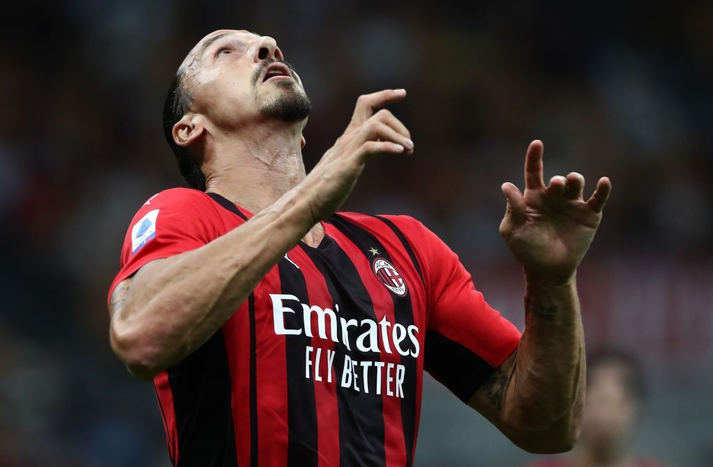 MILAN, ITALY - SEPTEMBER 12: Zlatan Ibrahimovic of AC Milan looks on during the Serie A match between AC Milan and SS Lazio at Stadio Giuseppe Meazza on September 12, 2021 in Milan, Italy. (Photo by Marco Luzzani/Getty Images)