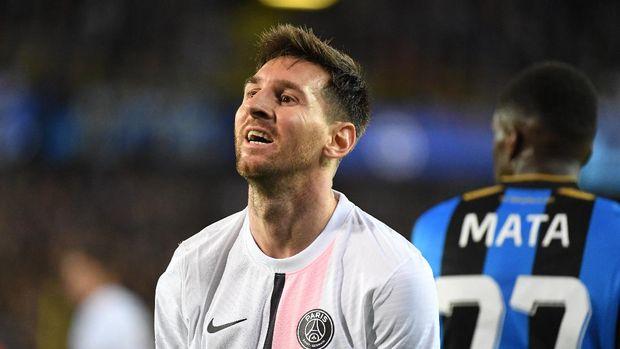 Soccer Football - Champions League - Group A - Club Brugge v Paris St Germain - Jan Breydel Stadium, Bruges, Belgium - September 15, 2021  Paris St Germain's Lionel Messi reacts REUTERS/Piroschka Van De Wouw