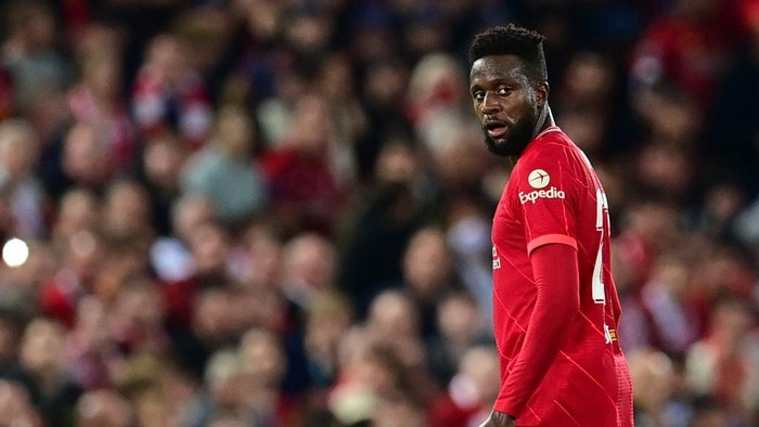 Liverpools Belgium striker Divock Origi leaves with an injury during the UEFA Champions League 1st round Group B football match between Liverpool and AC Milan at Anfield in Liverpool, north west England on September 15, 2021. (Photo by Paul ELLIS / AFP)