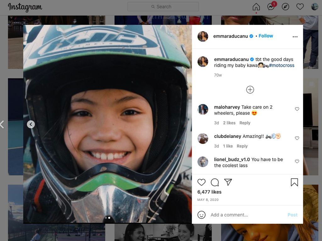 Emma Raducanu, Sensasi Tenis Terbaru yang Ternyata Doyan Motorcross