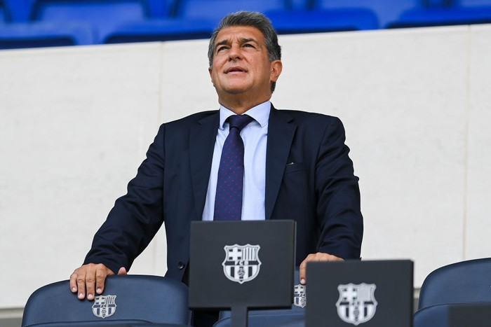 BARCELONA, SPAIN - SEPTEMBER 09: FC Barcelona president Joan laporta looks on as Luuk de Jong is presented as a Barcelona player at Camp Nou Stadium at Camp Nou on September 09, 2021 in Barcelona, Spain. (Photo by David Ramos/Getty Images)