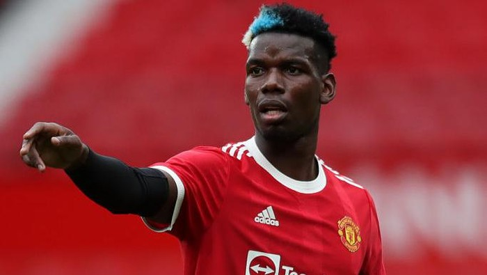 MANCHESTER, ENGLAND - AUGUST 07: Paul Pogba of Manchester United in action during the pre-season friendly match between Manchester United and Everton at Old Trafford on August 07, 2021 in Manchester, England. (Photo by Jan Kruger/Getty Images)