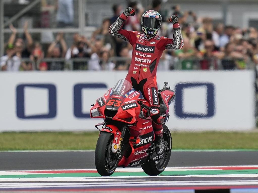 Hasil MotoGP San Marino 2021: Bagnaia Juara Lagi, Quartararo Kedua, Bastianini Ketiga