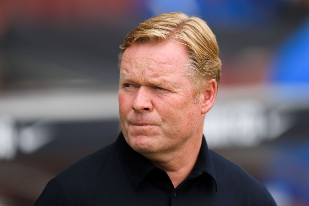 BARCELONA, SPAIN - AUGUST 29: Head coach Ronald Koeman of FC Barcelona looks on during the La Liga Santader match between FC Barcelona and Getafe CF at Camp Nou on August 29, 2021 in Barcelona, Spain. (Photo by David Ramos/Getty Images)