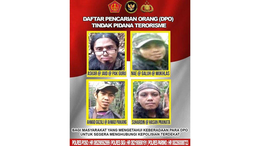 Satgas Madago Raya menerbitkan selebaran daftar pencarian orang (DPO) empat teroris Poso yang saat ini menjadi buron pasca tewasnya dua teroris Ali Kalora dan Jaka Ramadhan pada Sabtu (18/9).