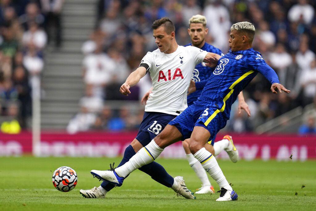 Chelsea's Thiago Silva controls the ball during the English Premier League soccer match between Tottenham Hotspur and Chelsea at the Tottenham Hotspur Stadium in London, England, Sunday, Sep. 19, 2021. (AP Photo/Matt Dunham)