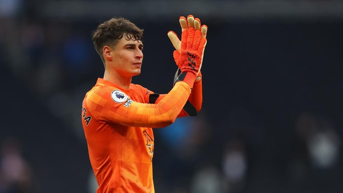 LONDON, ENGLAND - SEPTEMBER 19: Kepa Arrizabalaga of Chelsea  during the Premier League match between Tottenham Hotspur and Chelsea at Tottenham Hotspur Stadium on September 19, 2021 in London, England. (Photo by Catherine Ivill/Getty Images)