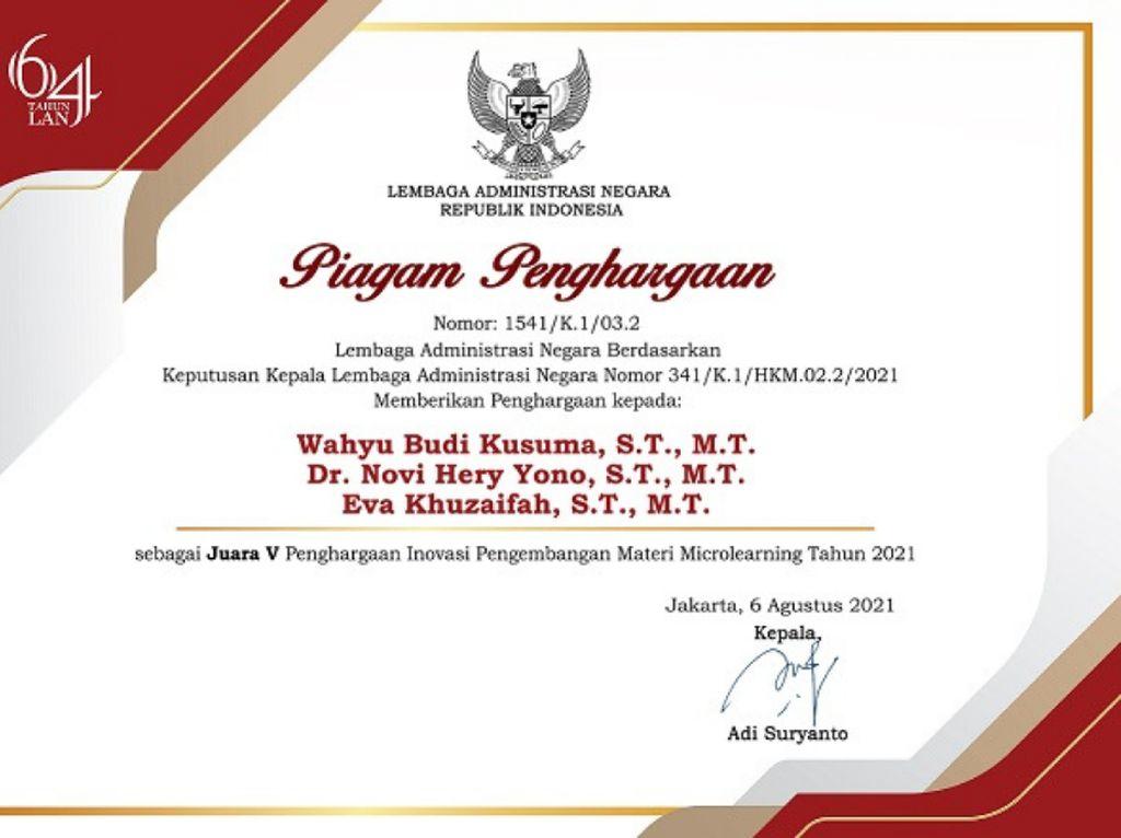 PPSDM Migas Dapat Penghargaan Inovasi Materi Microlearning dari LAN