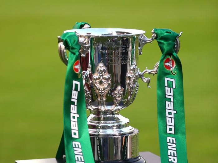 KINGSTON UPON THAMES, ENGLAND - AUGUST 28:  A detailed view of the Carabao Cup Trophy is seen prior to the Carabao Cup Second Round match between AFC Wimbledon and West Ham United at The Cherry Red Records Stadium on August 28, 2018 in Kingston upon Thames, England.  (Photo by Catherine Ivill/Getty Images)