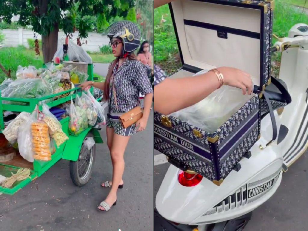 Mevvah! Wanita Ini Belanja Tempe Pakai Vespa Christian Dior Seharga Rp 1,35 Miliar