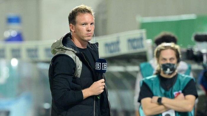 FUERTH, GERMANY - SEPTEMBER 24: Julian Nagelsmann, Head Coach of FC Bayern Muenchen is interviewed prior to the Bundesliga match between SpVgg Greuther Fürth and FC Bayern München at Sportpark Ronhof Thomas Sommer on September 24, 2021 in Fuerth, Germany. (Photo by Sebastian Widmann/Getty Images)