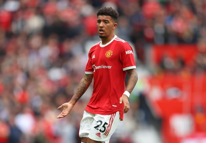 MANCHESTER, ENGLAND - AUGUST 14: Jadon Sancho of Manchester United during the Premier League match between Manchester United  and  Leeds United at Old Trafford on August 14, 2021 in Manchester, England. (Photo by Catherine Ivill/Getty Images,)