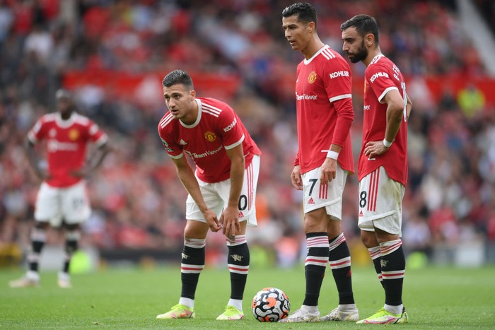 MANCHESTER, ENGLAND - SEPTEMBER 25: Cristiano Ronaldo of Manchester United prepares to take a free kick during the Premier League match between Manchester United and Aston Villa at Old Trafford on September 25, 2021 in Manchester, England. (Photo by Laurence Griffiths/Getty Images)