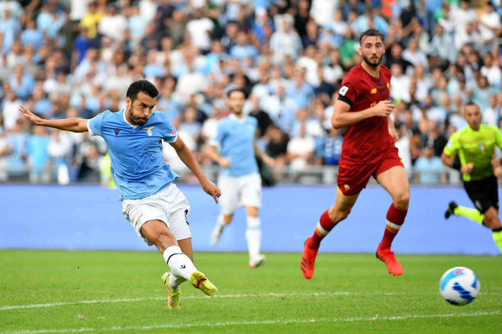 ROME, ITALY - SEPTEMBER 26: Pedro Rodriguez of SS Lazio scores a second goal during the Serie A match between SS Lazio and AS Roma at Stadio Olimpico on September 26, 2021 in Rome, Italy. (Photo by Marco Rosi - SS Lazio/Getty Images)