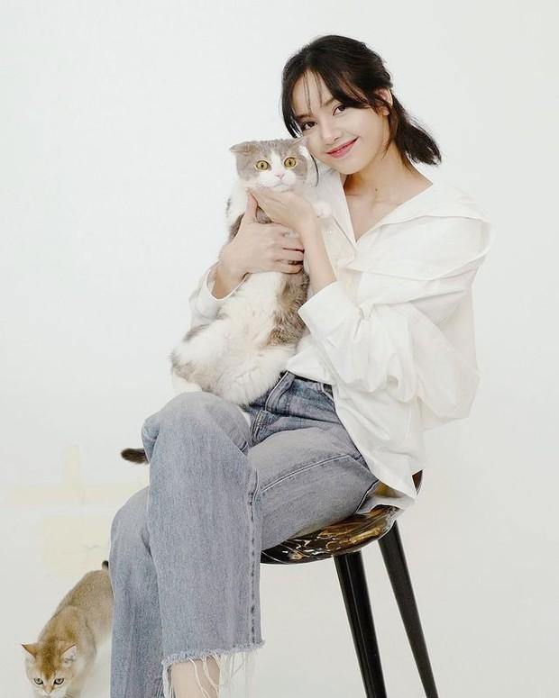 Lisa Bergaya Modis Sambil Berfoto Bersama Kucing