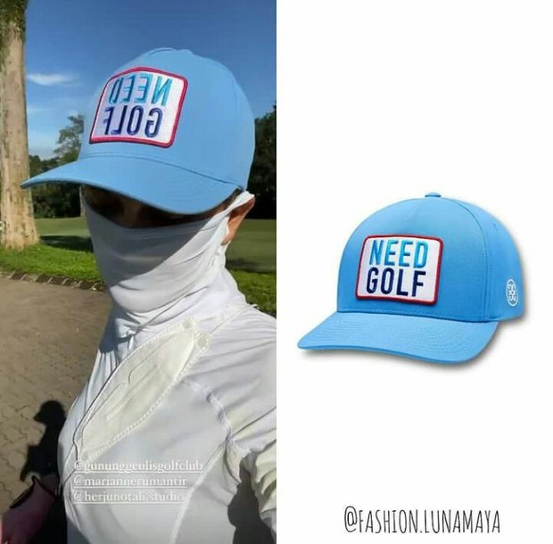 Topi Luna Maya dari G/Fore 'Need Golf Snapback' seharga Rp760 ribu.