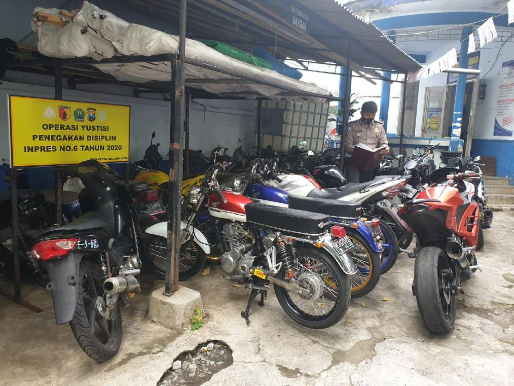 Puluhan Motor Knalpot Brong Terjaring Razia di Kota Malang