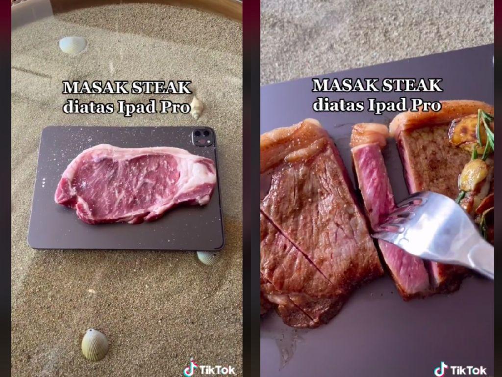 Sultan! Wanita Ini Masak Steak pakai Talenan iPad Pro