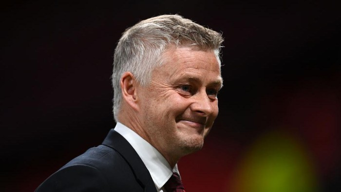 MANCHESTER, ENGLAND - SEPTEMBER 29: Ole Gunnar Solskjaer, Manager of Manchester United smiles prior to the UEFA Champions League group F match between Manchester United and Villarreal CF at Old Trafford on September 29, 2021 in Manchester, England. (Photo by Michael Regan/Getty Images)