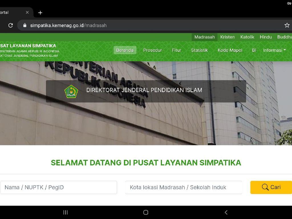 Login SIMPATIKA Kemenag 2021 untuk Cek Tunjungan Insentif Guru Madrasah Non PNS