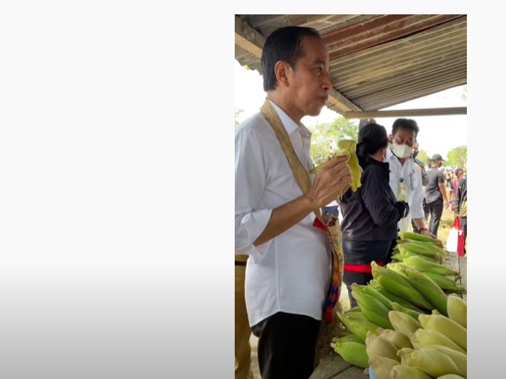 Jokowi Jajan Jagung di Pinggir Jalan Bareng Puan dan Mentan