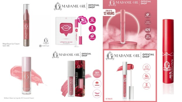 Berbagai koleksi lips product Madame Gie   Foto: instagram/madame.gie