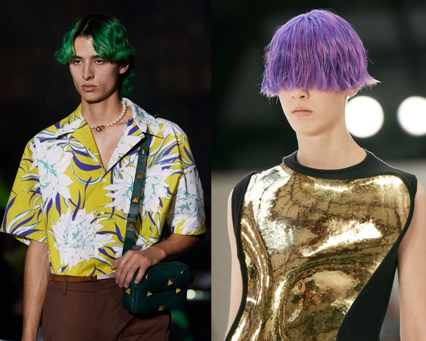 Valentino dan Loewe yang menunjukkan hair dye warna bold/
