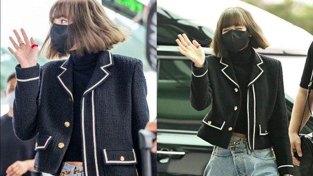 Lisa yang baru tiba untuk hadir di Paris Fashion Week
