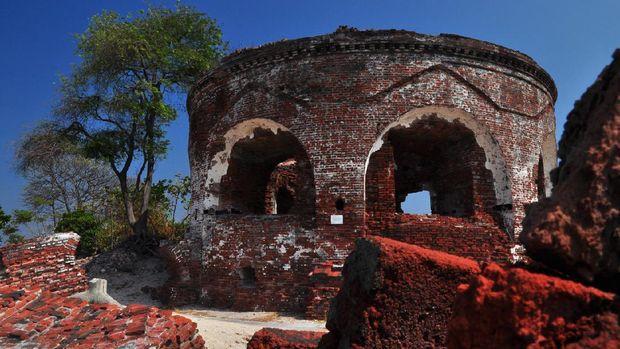 The rest of Martello Fortress in Kelor Island, Kepulauan Seribu, Jakarta, Indonesia.