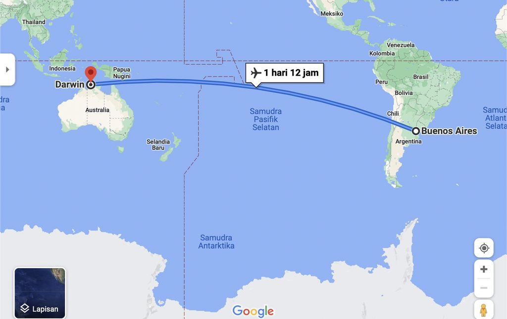 Penerbangan Qantas Buenos Aires, Argentina ke kota Darwin, Australia Utara