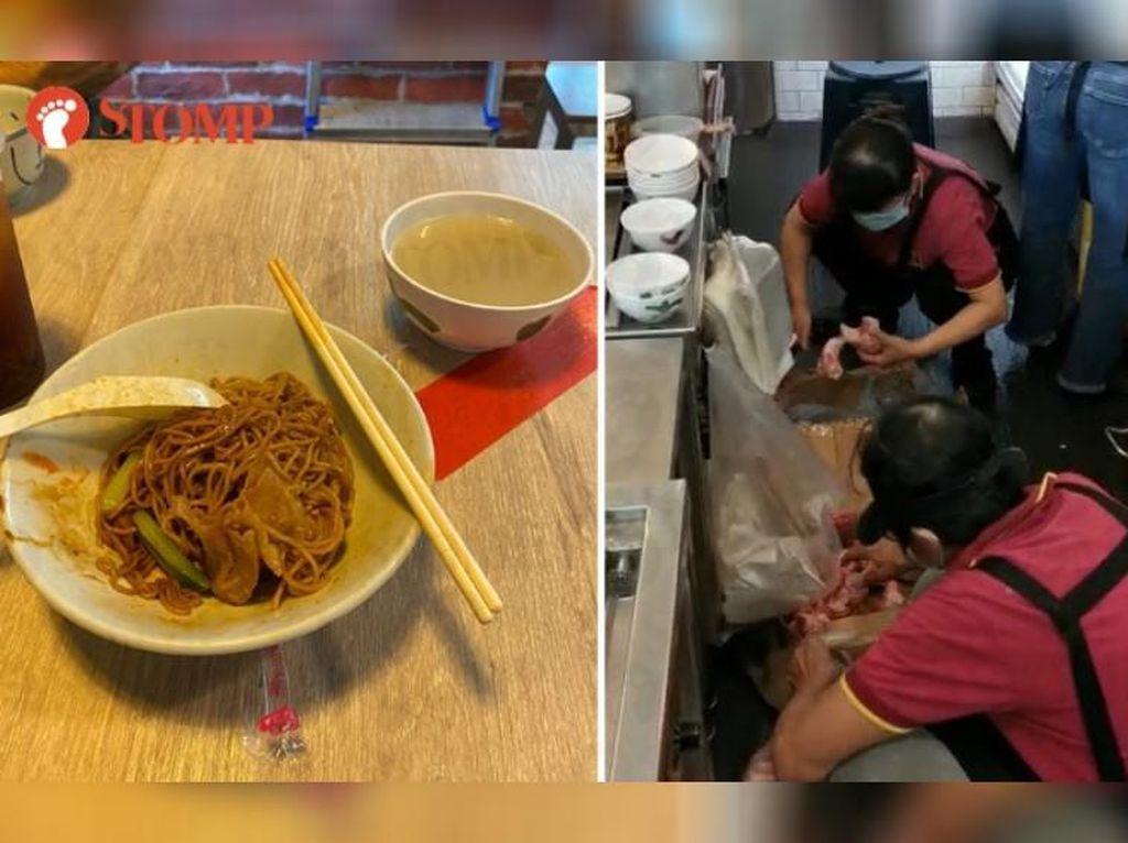 Jorok! Restoran Mie Ini Ketahuan Potong Daging di Lantai
