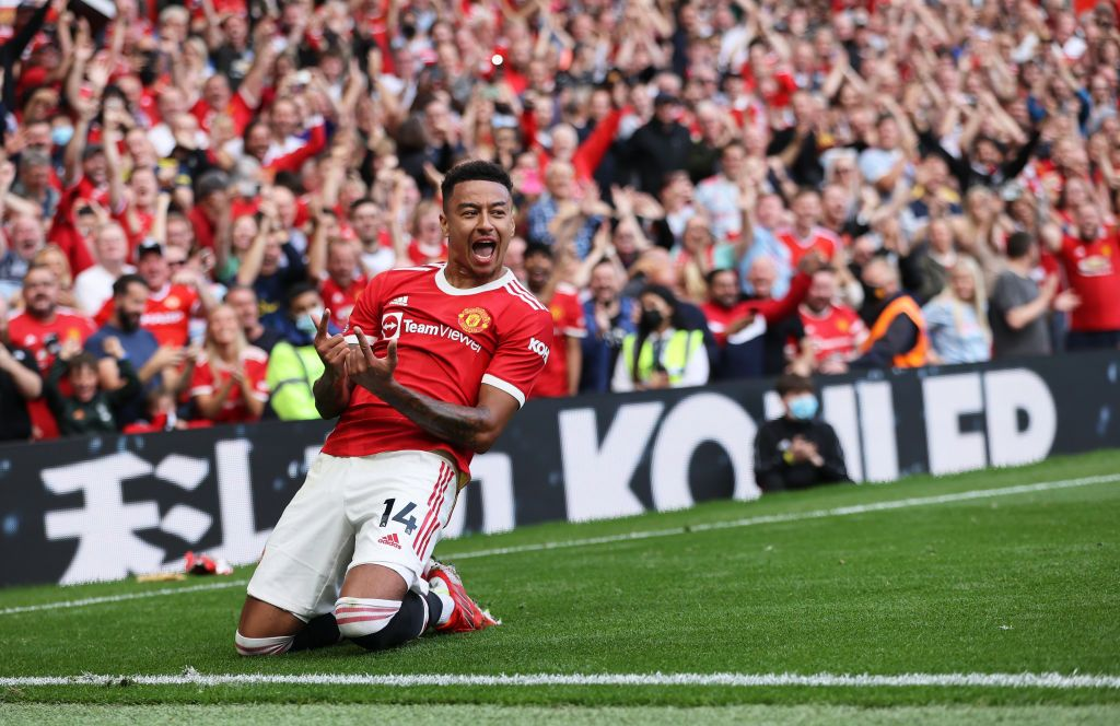 MANCHESTER, ENGLAND - SEPTEMBER 11: Jesse Lingard of Manchester United celebrates after scoring their side's fourth goal during the Premier League match between Manchester United and Newcastle United at Old Trafford on September 11, 2021 in Manchester, England. (Photo by Clive Brunskill/Getty Images)