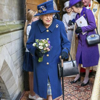 Britain's Queen Elizabeth II, followed by Britain's Princess Anne, right, arrives to attend a Service of Thanksgiving to mark the Centenary of the Royal British Legion at Westminster Abbey, in London, Tuesday, Oct. 12, 2021. (Arthur Edwards/Pool Photo via AP)