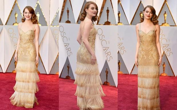 Selebritis yang menggunakan gold dress di red carpet