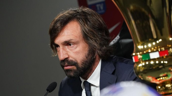 REGGIO NELLEMILIA, ITALY - MAY 18: Head coach of Juventus Andrea Pirlo speaks with the media during an Juventus press conference ahead of the TIMVISION Cup Final between Atalanta BC and Juventus on May 18, 2021 in Reggio nellEmilia, Italy. (Photo by Claudio Villa/Getty Images for Lega Serie A)