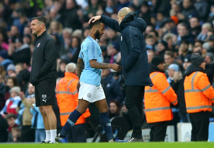 MANCHESTER, ENGLAND - JANUARY 06:  Raheem Sterling is substituted during the FA Cup Third Round match between Manchester City and Rotherham United at the Etihad Stadium on January 6, 2019 in Manchester, United Kingdom.  (Photo by Alex Livesey/Getty Images)